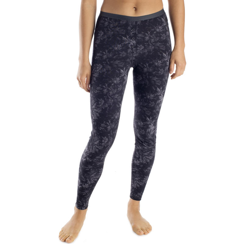 Merino T2 Long Johns Coal Leaves Print