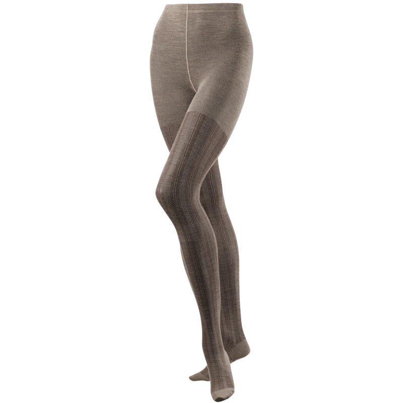 Chevron Merino Tights Taupe