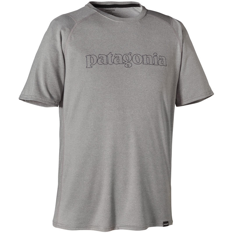Cap 1 Graphic T-Shirt Text Outline Logo/Feather Grey