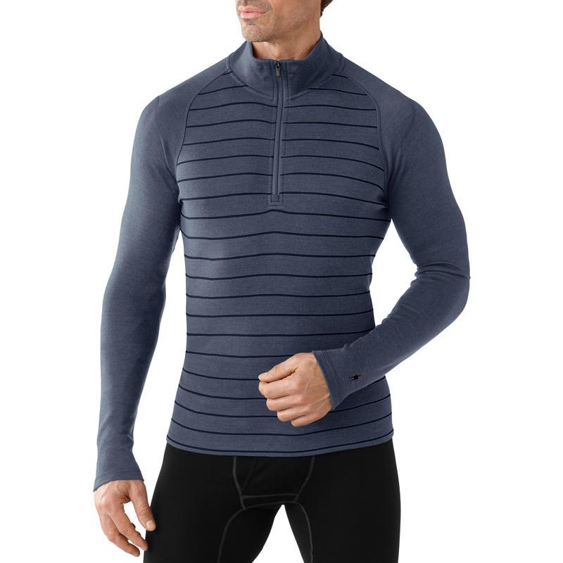 NTS Mid 250 Pattern Zip T Long Sleeve Dark Blue Steel Heather
