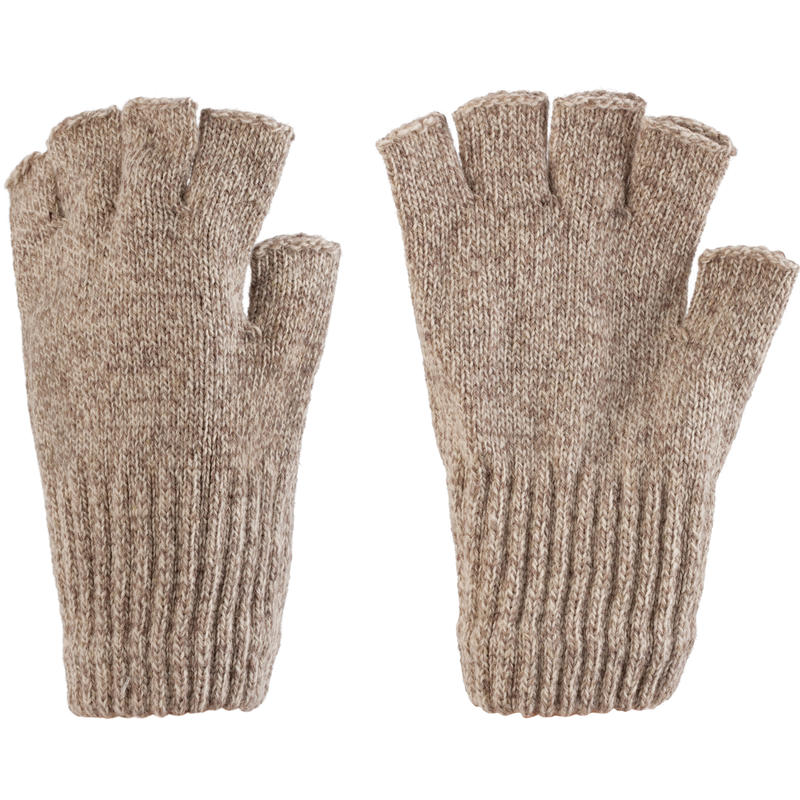 Ragg Wool Fingerless Gloves Oatmeal