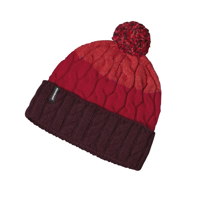 Pom Beanie Glacier Stripe/Sumac Red