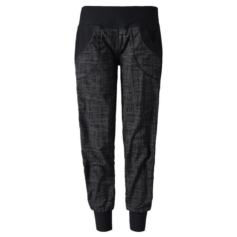 Jogger Mix Pant Cross Hatch Print Black Combo