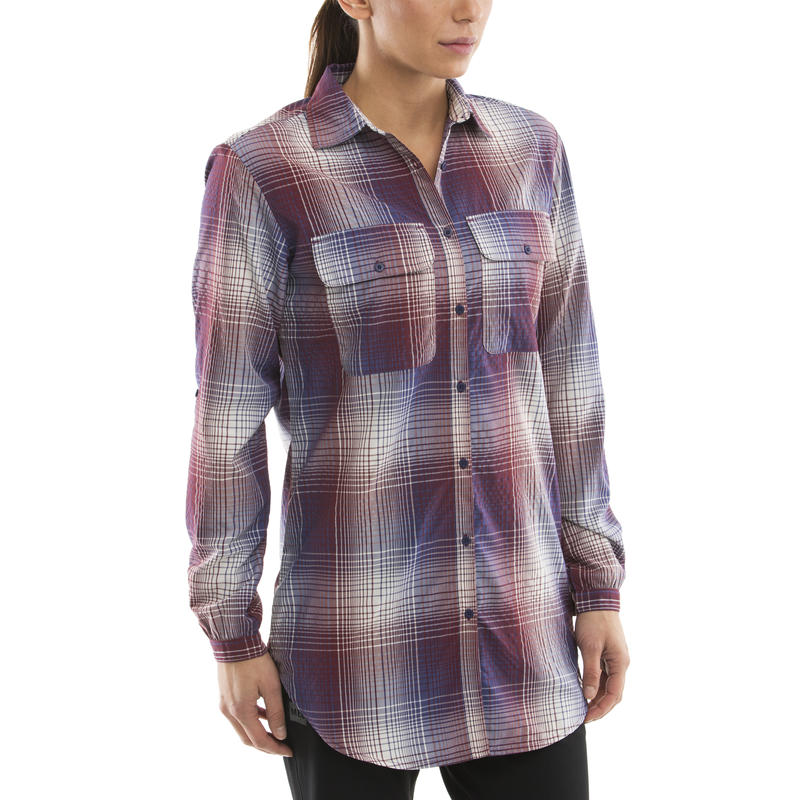 Vida Long-Sleeved Shirt Merlot-Blue Ribbon Plaid