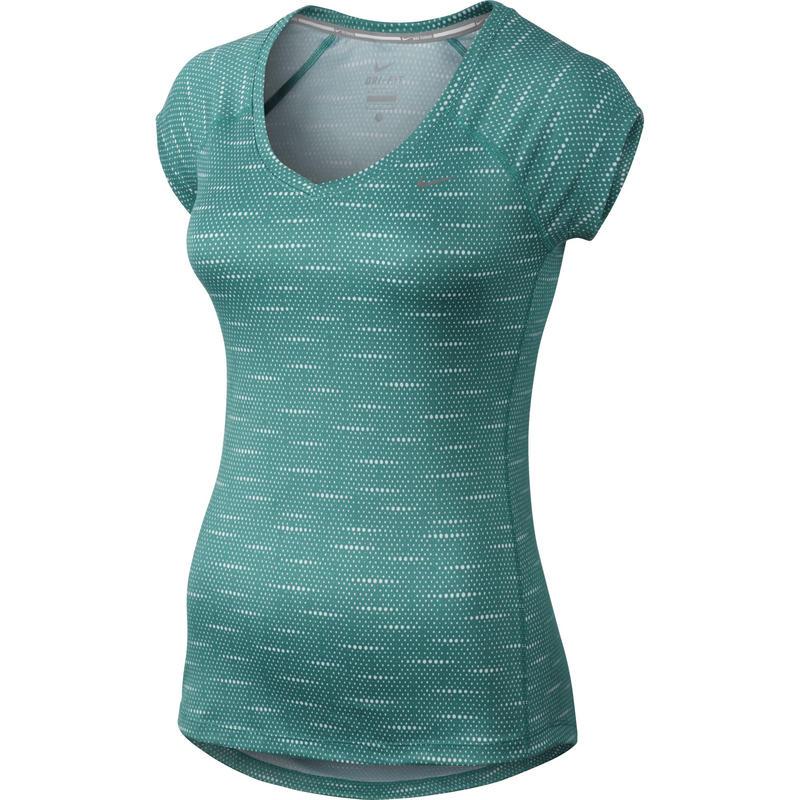 Printed Miler Short Sleeve V-Neck Emerald Green