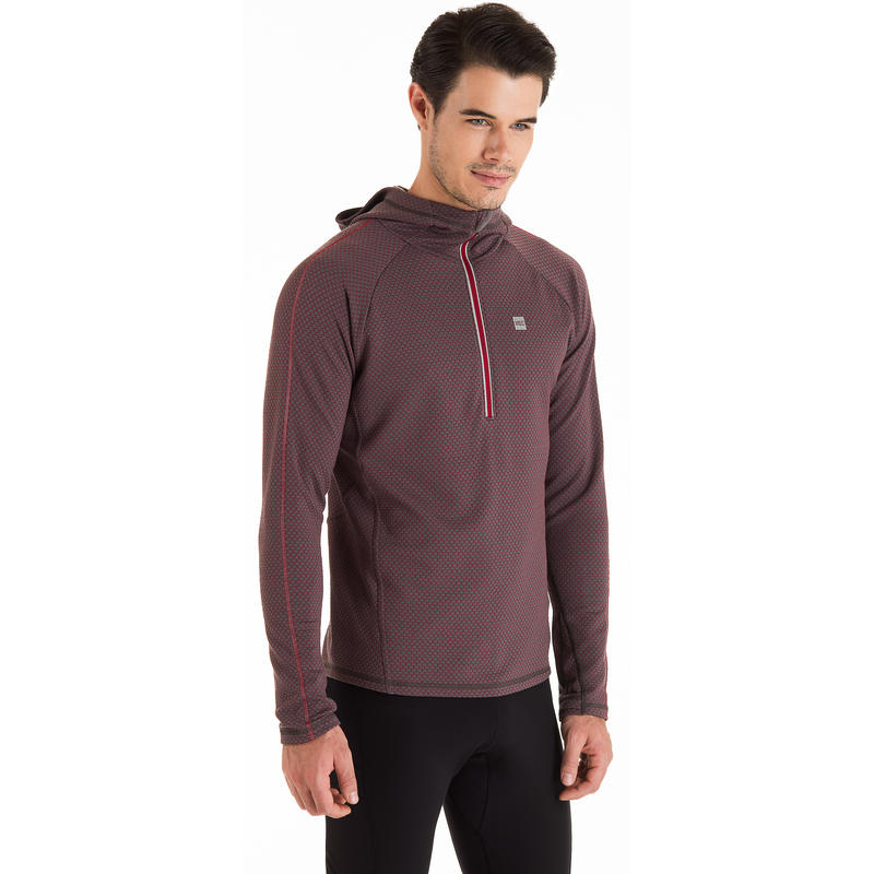 Ignite 2 Zip Top Boulder-Garnet Honeycomb Pattern
