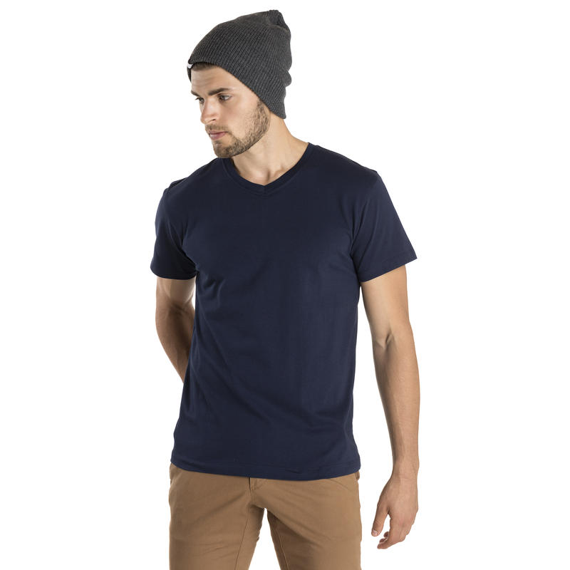 T-shirt à encolure en V Bleu minuit
