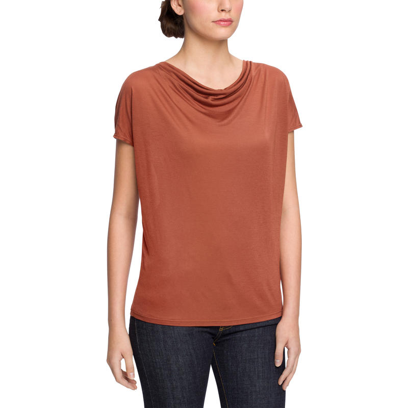 Illume Cowl Short Sleeve Top Redrock
