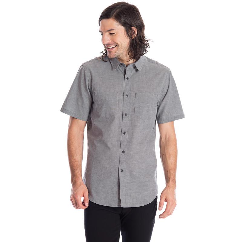 Motif Short-Sleeved Woven Shirt Midnight Blue Micro Check
