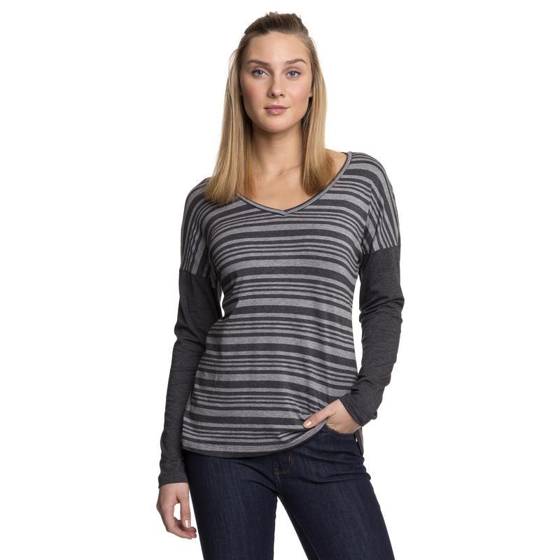 Mercadona Long-Sleeved Top Grey Heather-Black Heather Stripe/Black Heather