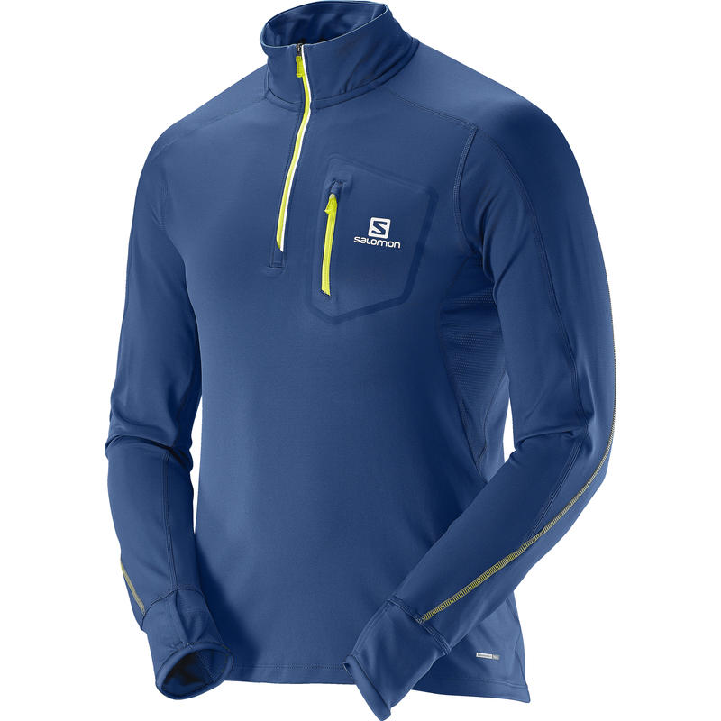 Trail Runner Warm LS Zip Tee Midnight Blue