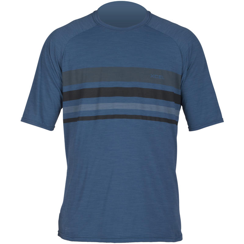 Ventx D2D Short Sleeve Sunguard Top Heather Marine Stripe