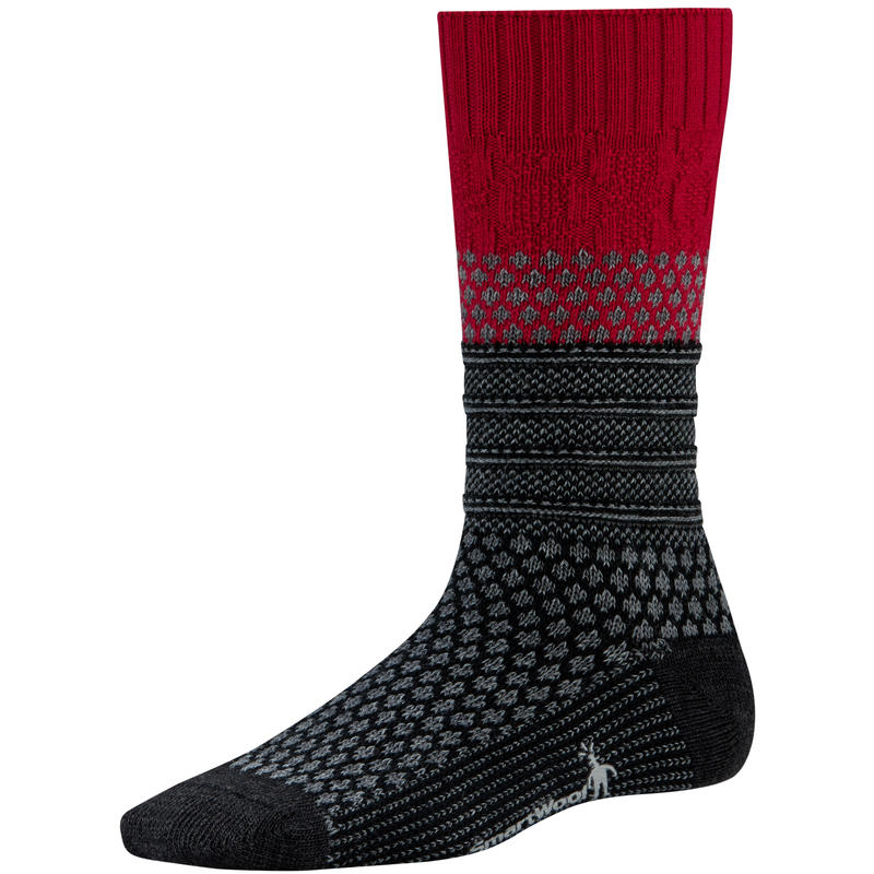 Popcorn Cable Socks Crimson/Charcoal