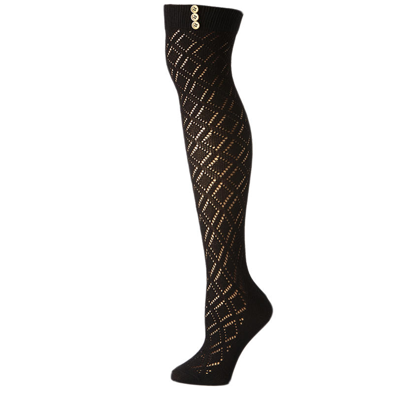 Chaussettes Over The Knee Noir pointelle