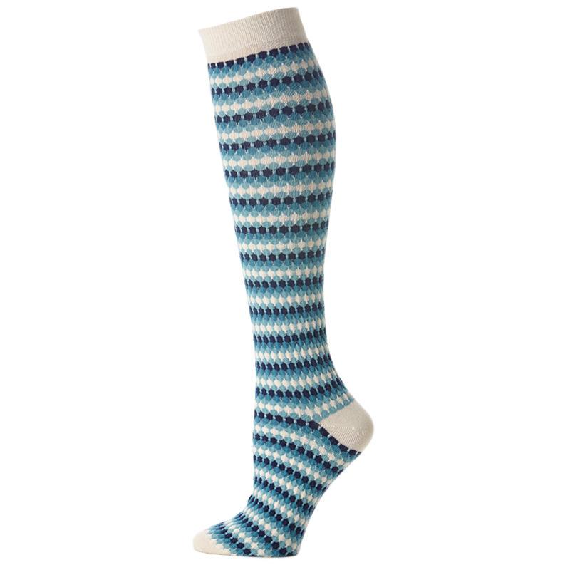 Knee Sock Waffle Stripe Navy