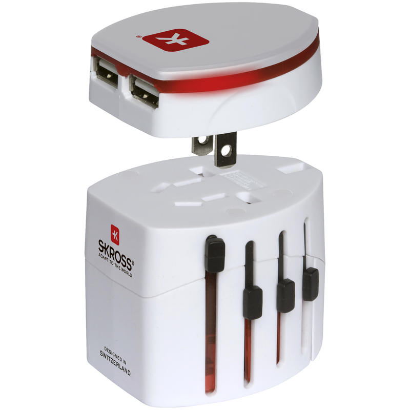 World Travel Adapter 2 and USB Charger White