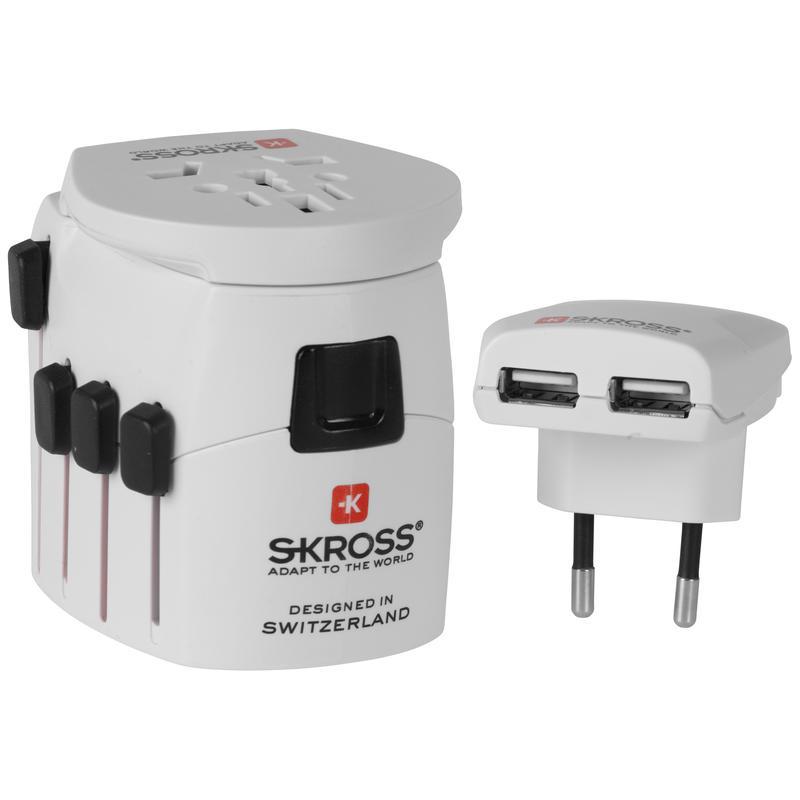 Pro Plus USB World Adapter w/Ground White