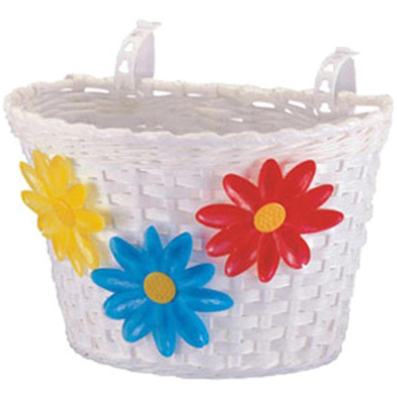 Panier de vélo avant avec fleurs Blanc