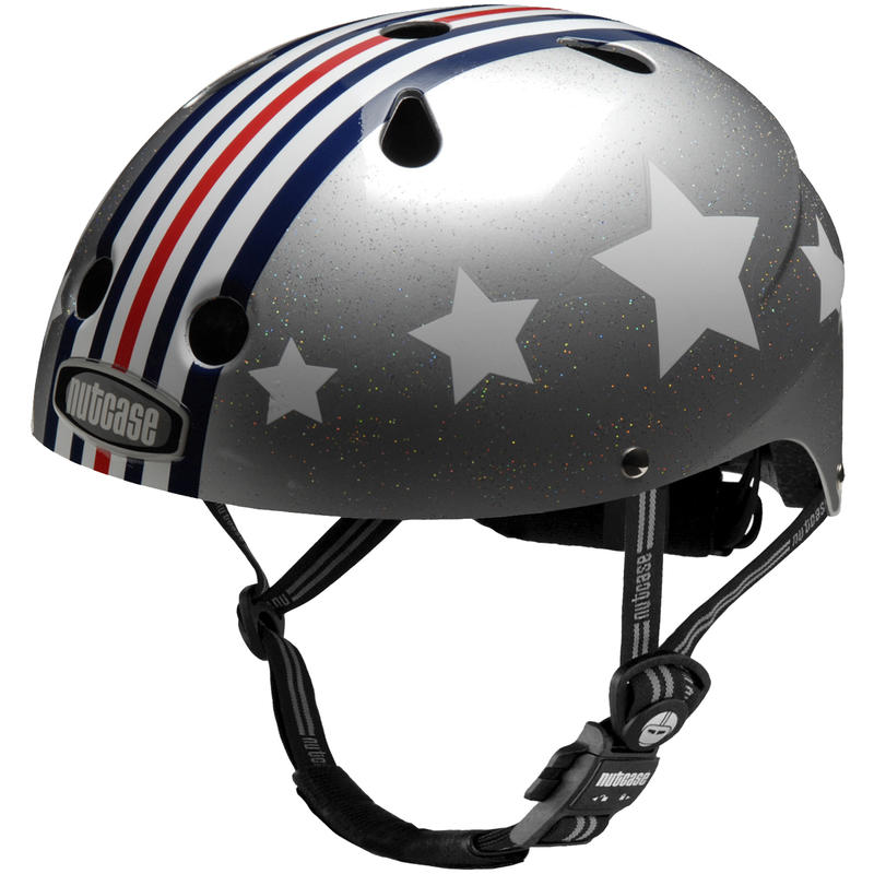Little Nutty Bicycle Helmet Silver Fly Graphic