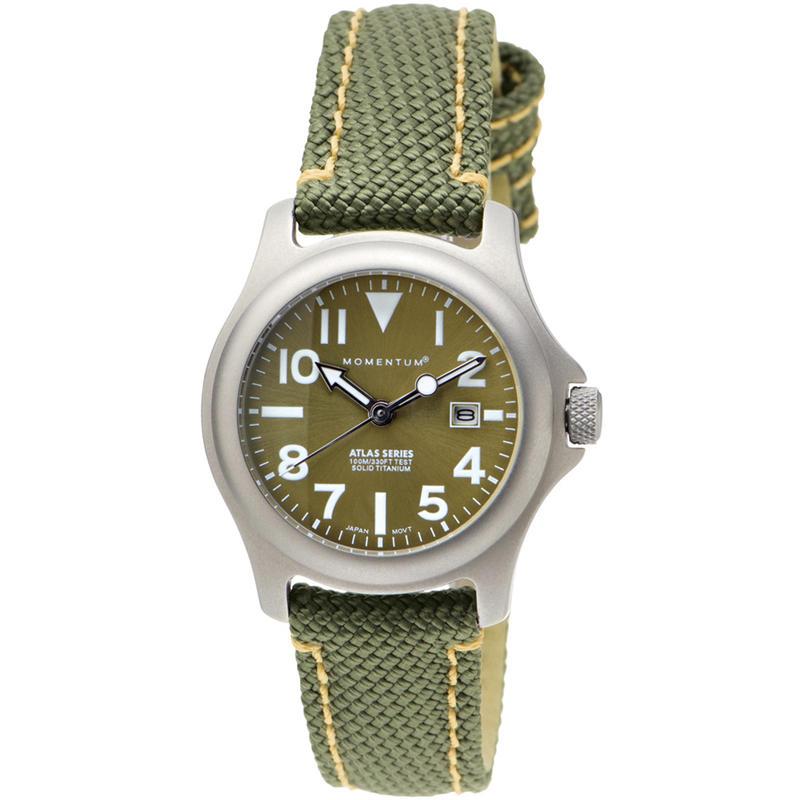 Atlas S Titanium Watch w/SB Nylon Strap Olive/Sage