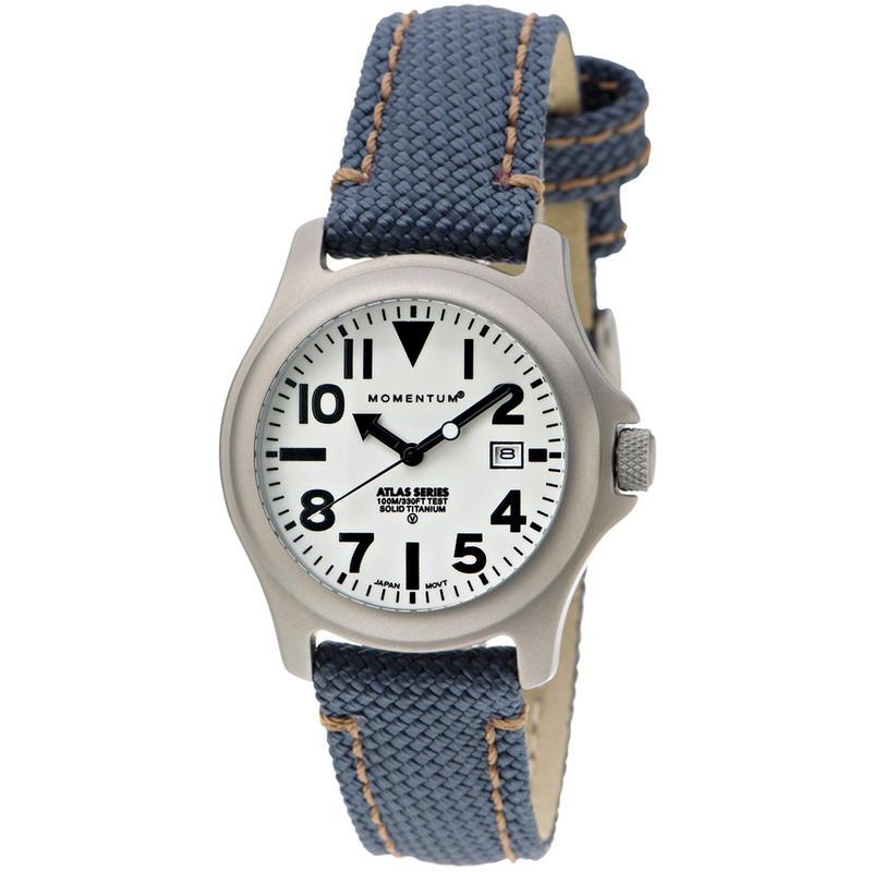 Montre Atlas L Titanium avec bracelet en nylon Blanc/Denim