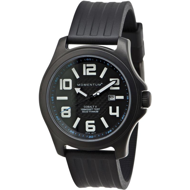 Montre Cobalt V avec bracelet en caoutchouc Noir