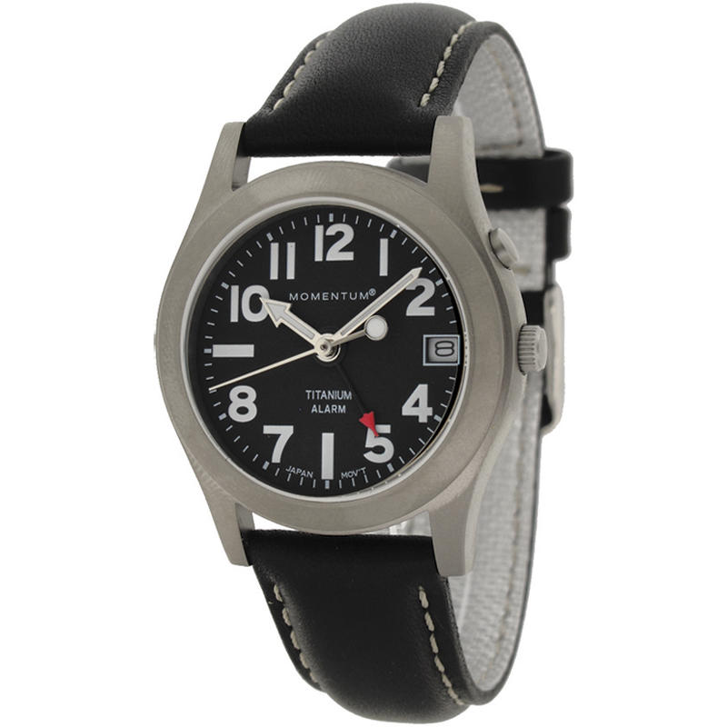 Montre Pathfinder II avec bracelet en cuir Noir/Noir