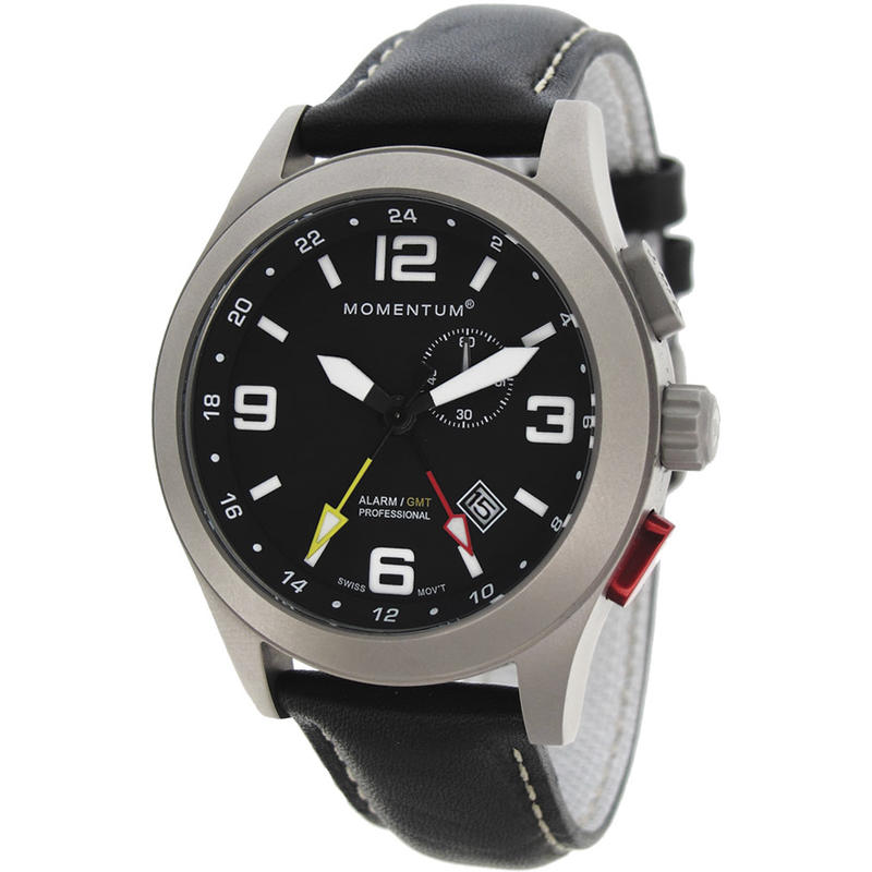Vortech GMT Watch with Leather Band Black/Black