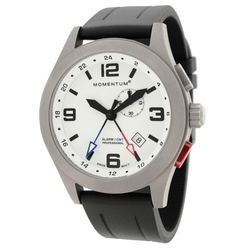 Montre Vortech GMT/Bracelet Groove en caoutchouc Blanc lumineux/Noir