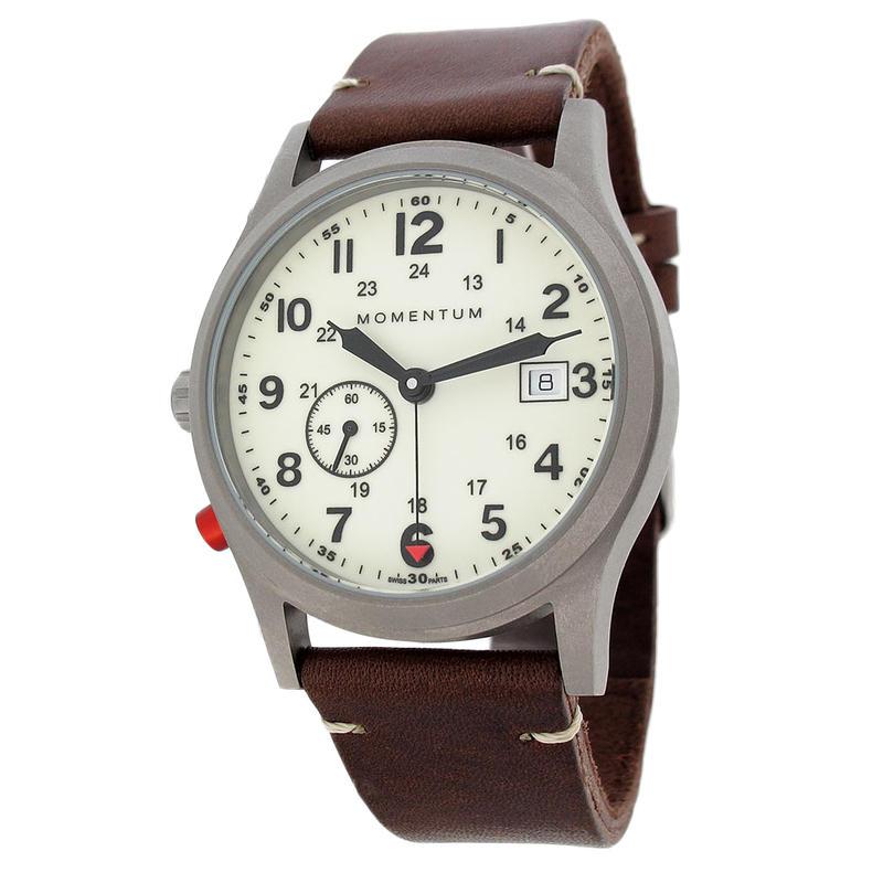 Montre Pathfinder III/Bracelet Vintage en cuir Blanc lumineux/Brun