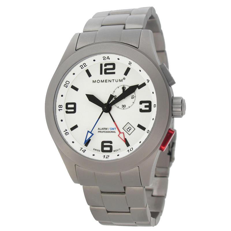 Montre Vortech GMT/Bracelet en titane Blanc lumineux/Titane