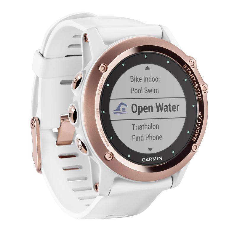 Fenix 3 Sapphire GPS Watch w/White Band Rose Gold-Tone
