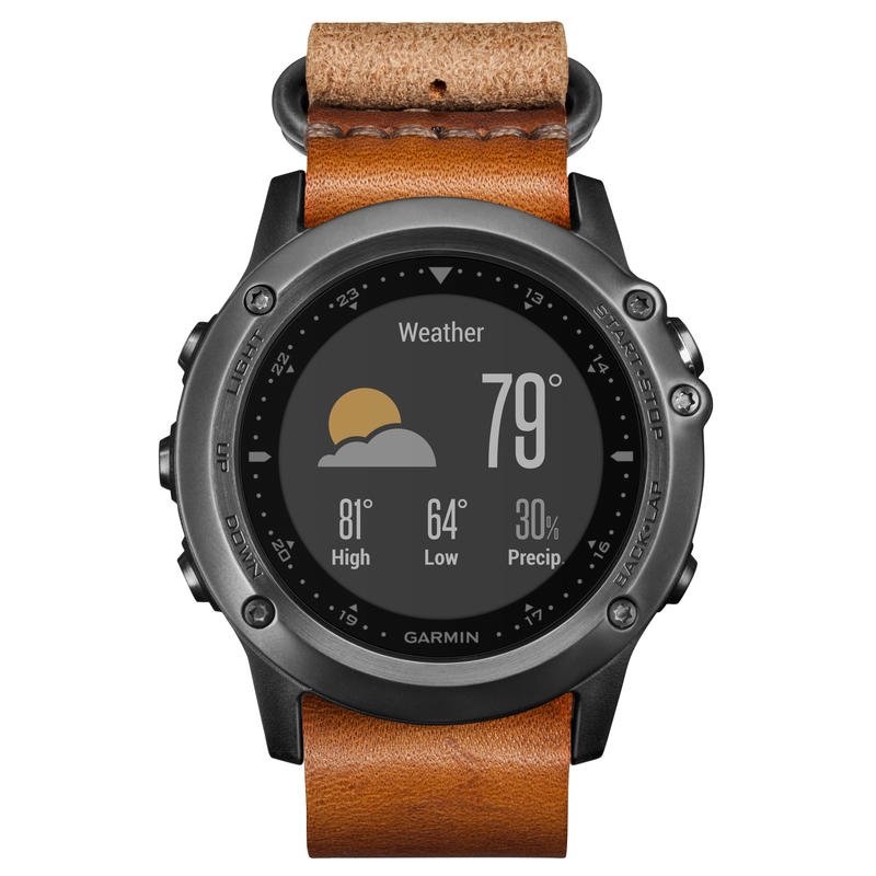 Fenix 3 Sapphire GPS Watch w/Leather Band Grey
