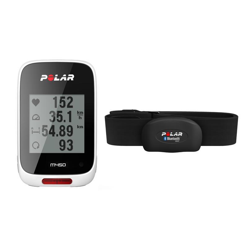 Cyclomètre M450 GPS avec cardiomètre Blanc/Noir