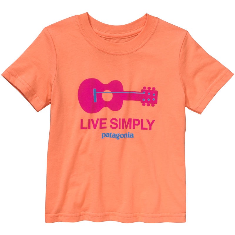 Live Simply Guitar T-Shirt Peach Sherbet