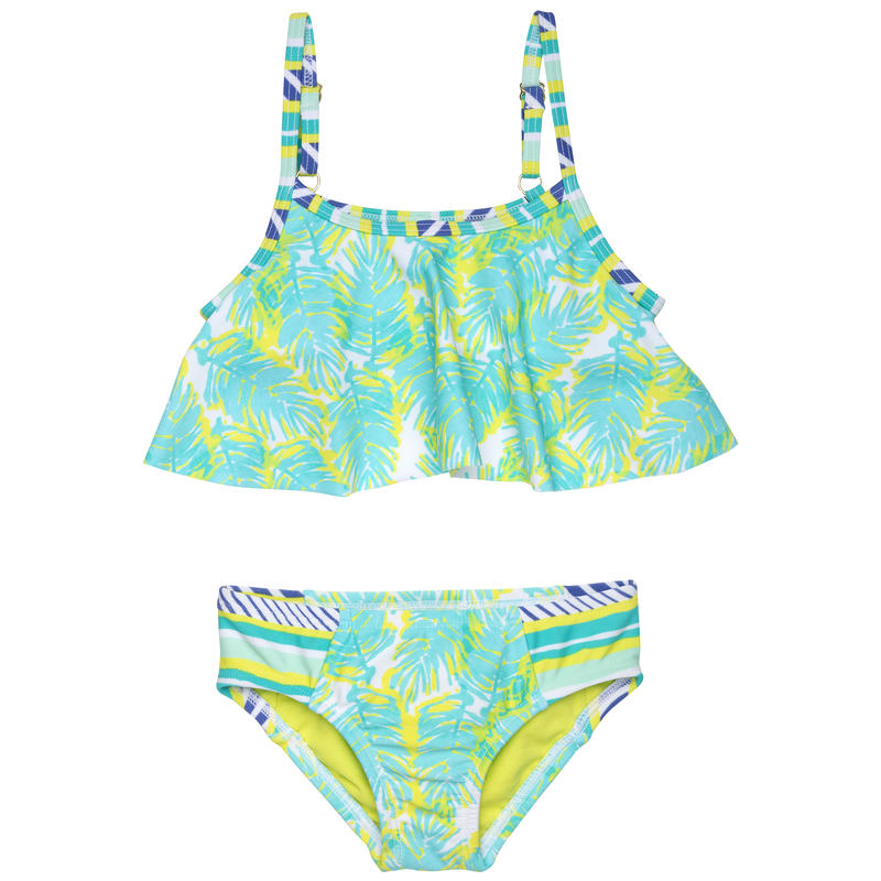 Palm Print Flutter Two-Piece Swimsuit Turquoise