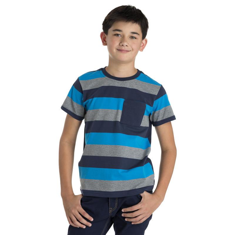 T-shirt Liam Grandes rayures régate-bleu minuit/Bleu minuit