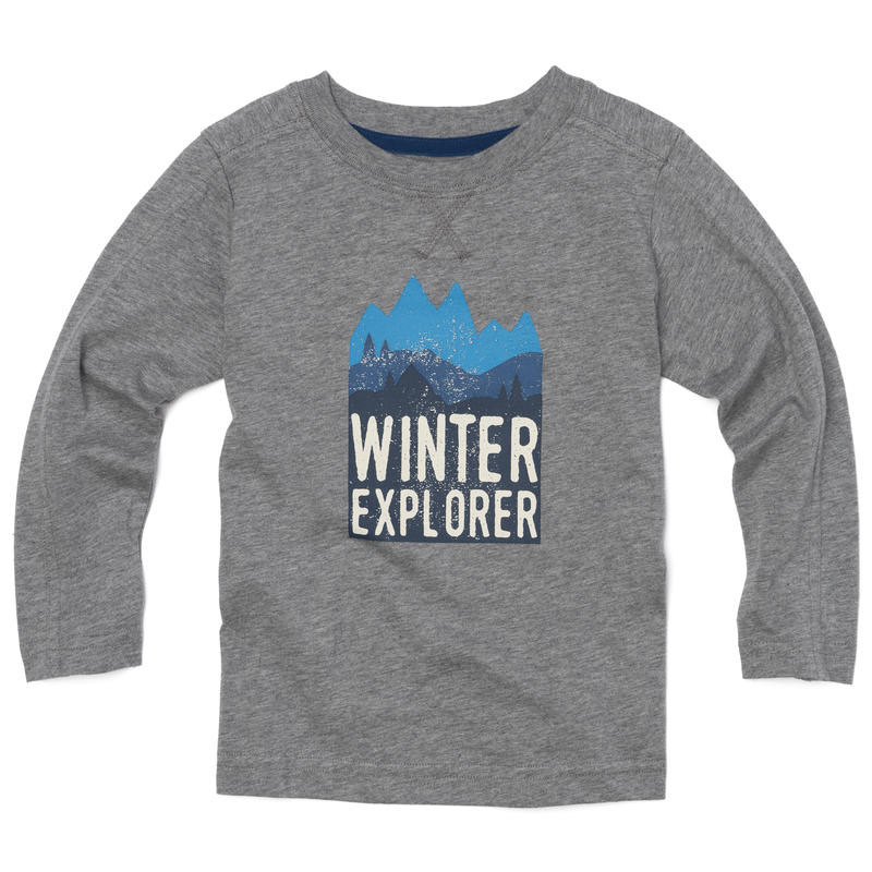 Jaden Long Sleeve T-Shirt Grey Heather Winter Explorer Graphic