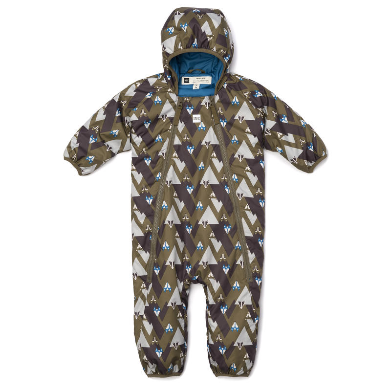 Cocoon Bunting Suit Dark Olive Critter Print