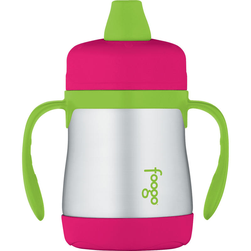 Stainless Steel Sippy Cup with Handles 210ml Pink