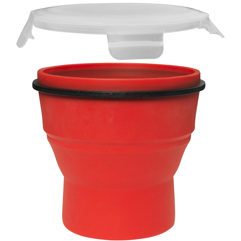 Tall Locking Silicone Food Container 800ml Red