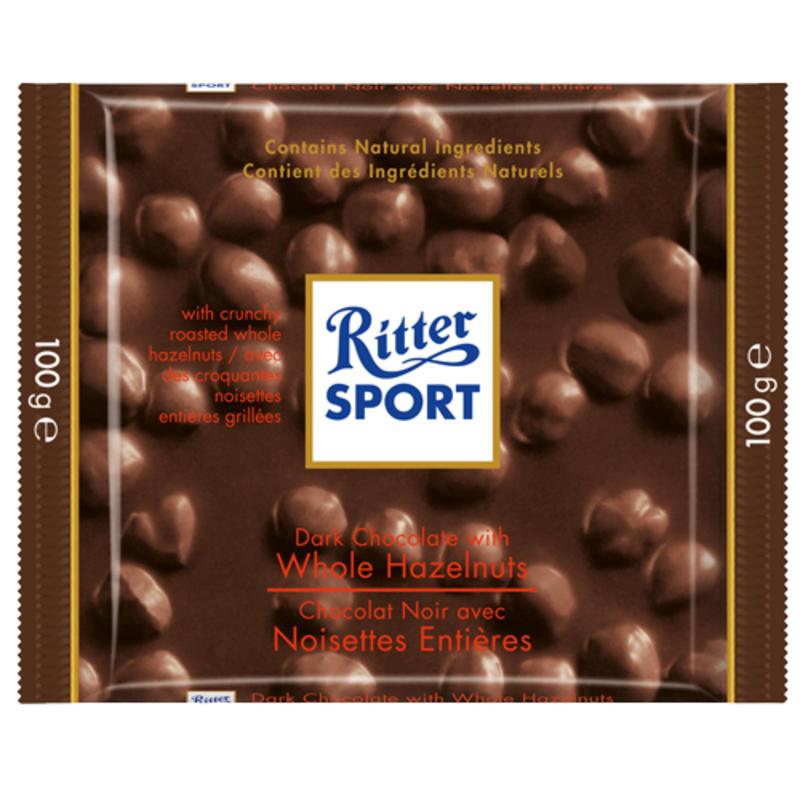 Tablette de chocolat noir aux noisettes