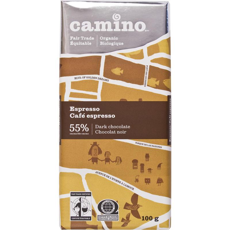 Chocolat noir biologique au café expresso