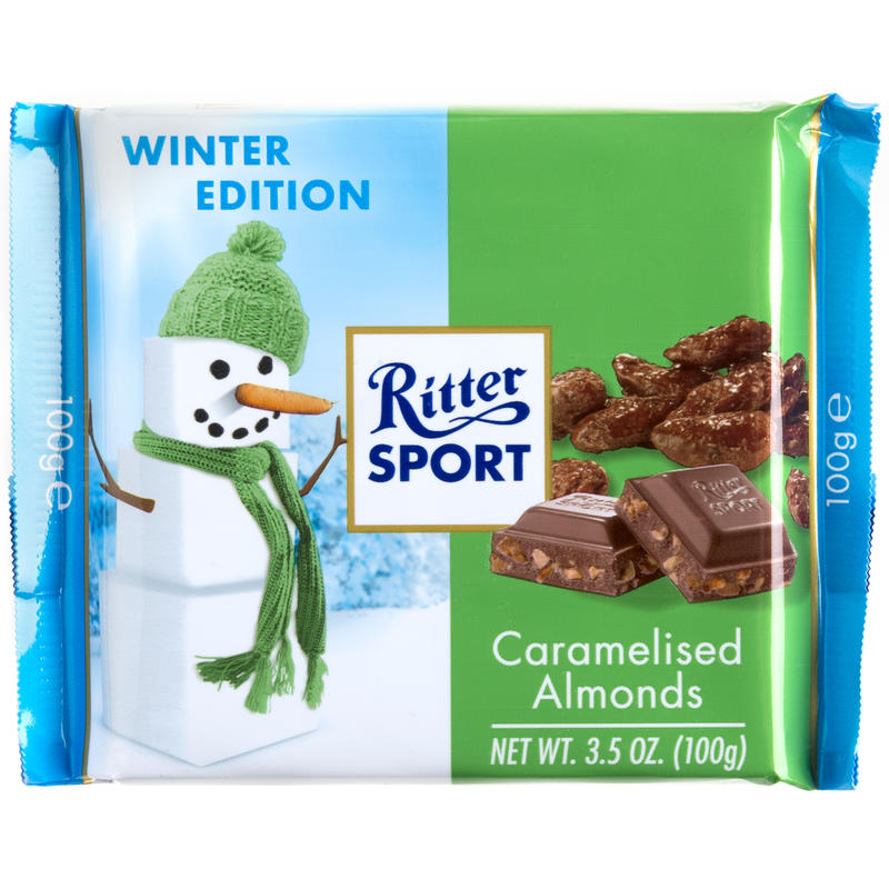 Tablette de chocolat au caramel et aux amandes