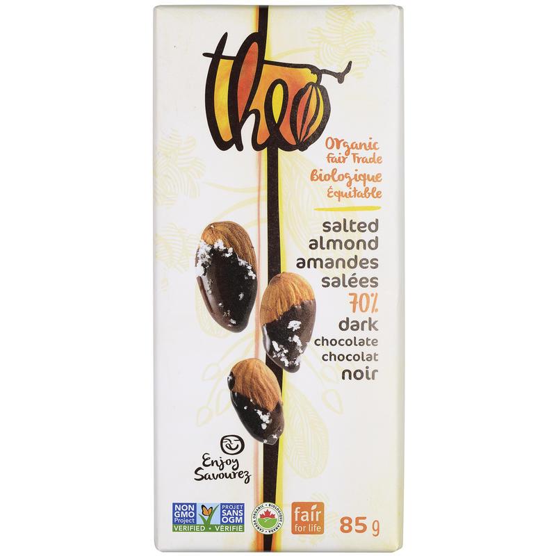 Tablette de chocolat bio aux amandes salées