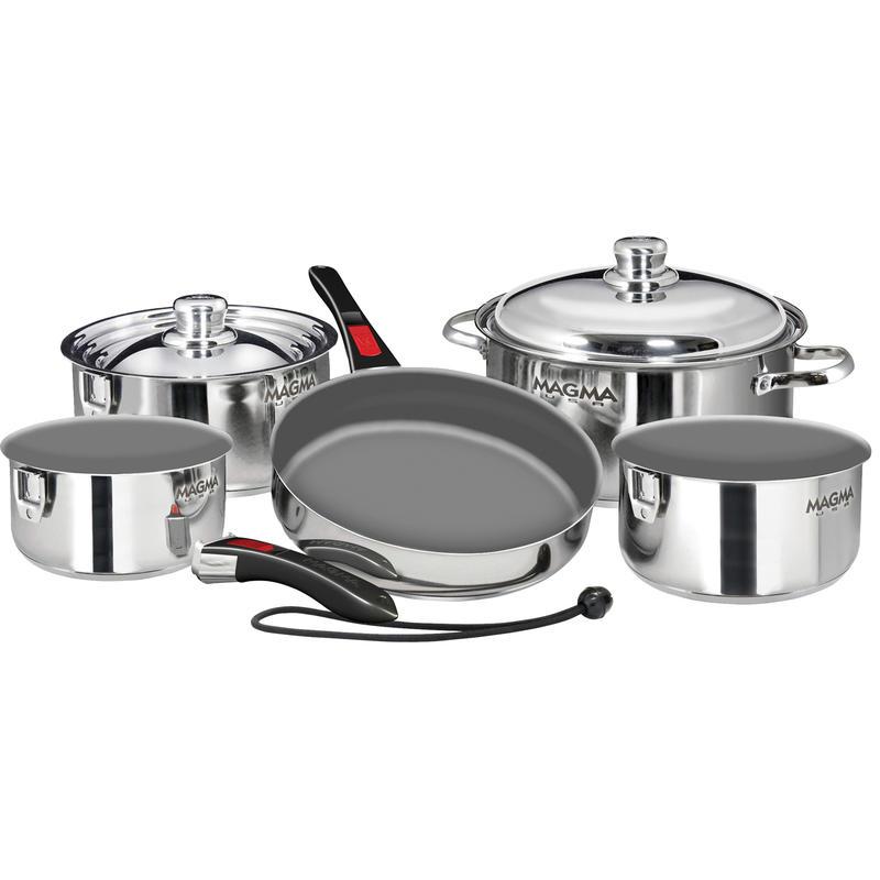 10-Pce Nesting SS Cookware Set w/Ceramic Non-Stick