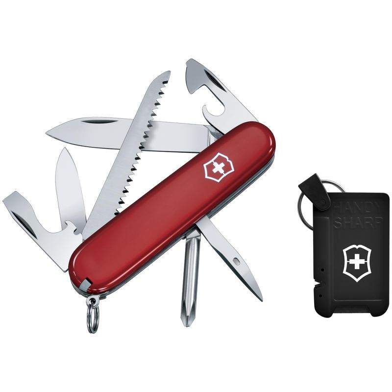 Hiker Knife with Sharpener Red