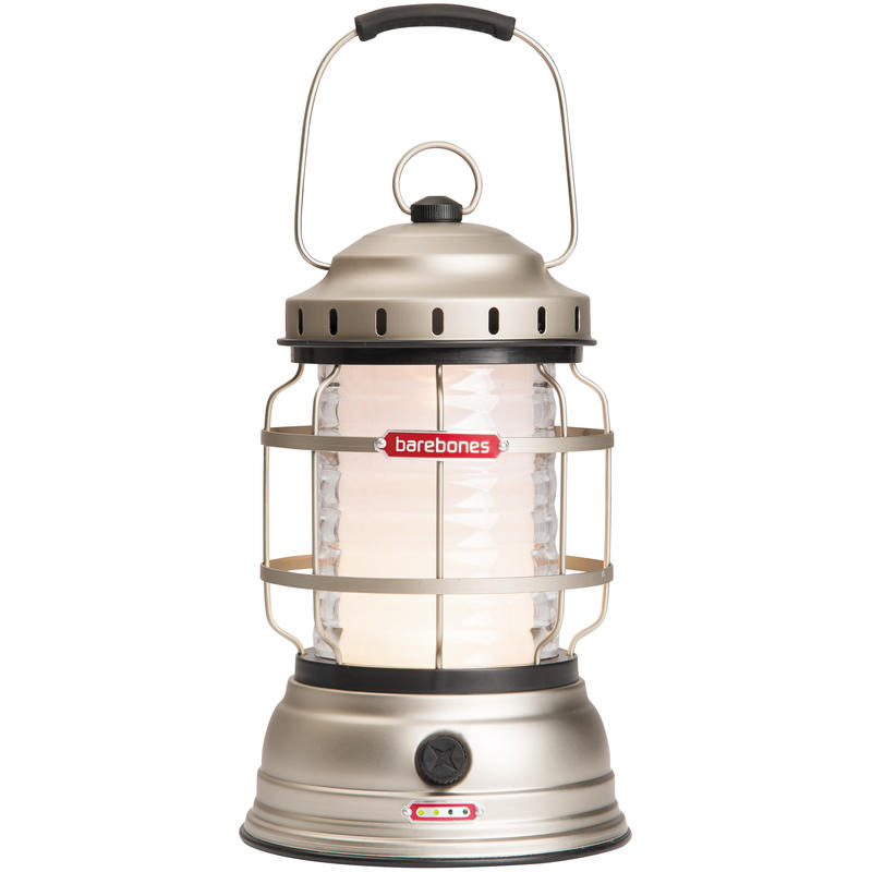Forest LED Rechargeable Lantern Satin Nickel