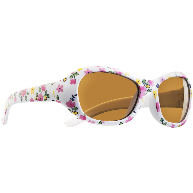 Starfish Sunglasses White Floral/Brown Blue Blocking Lens