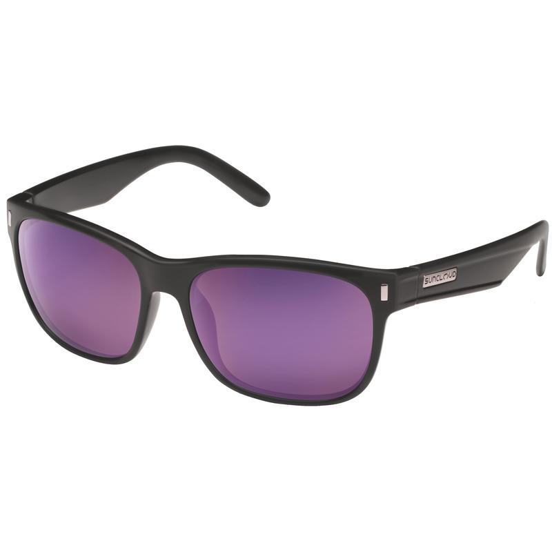 Dashboard Polarized Sunglasses Matte Black/Polarized Grey w/ Purple Mirror